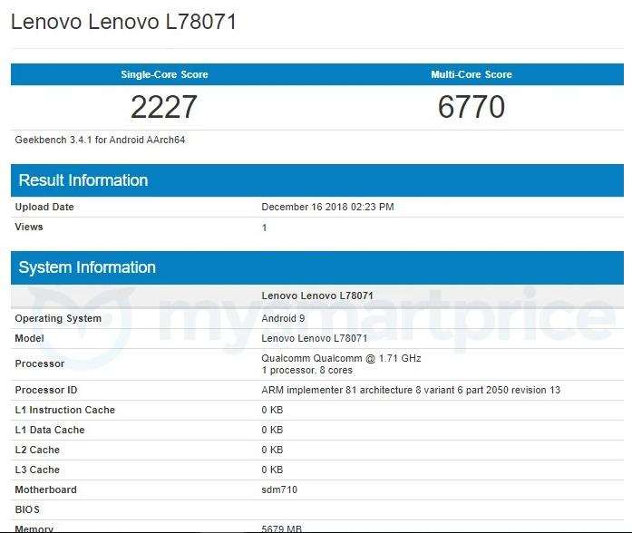 Результаты тестирования Lenovo Z5s в Geekbench