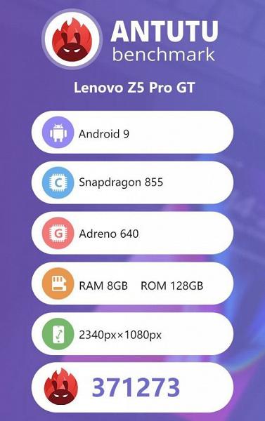 Результат тестирования Lenovo Z5 Pro GT в Antutu