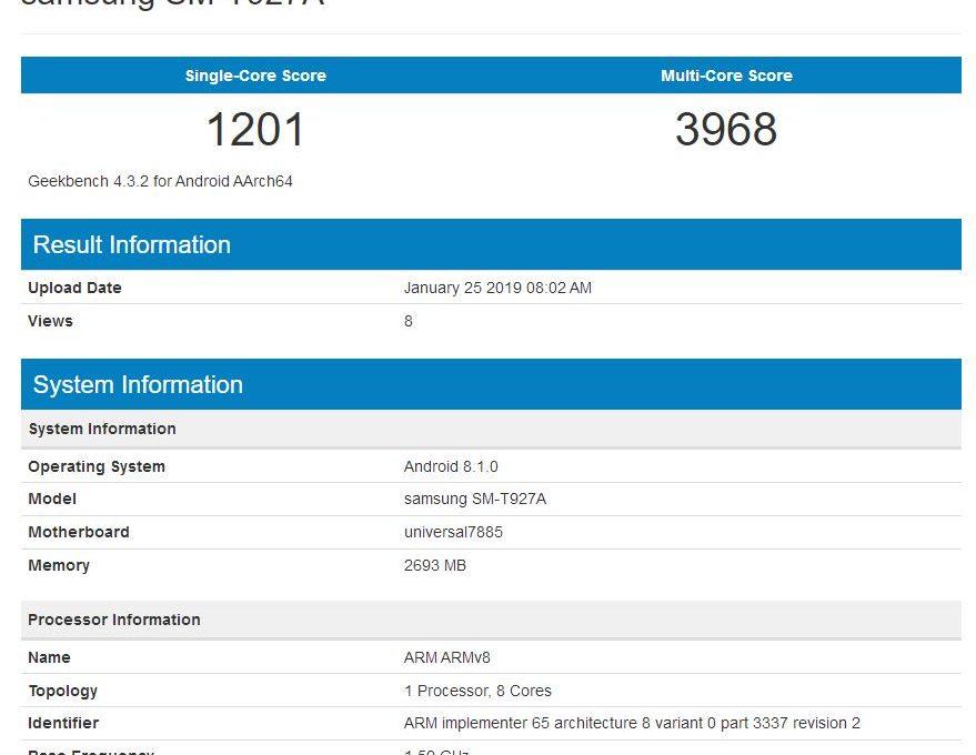 Результаты тестирования Samsung Galaxy View 2 в Geekbench