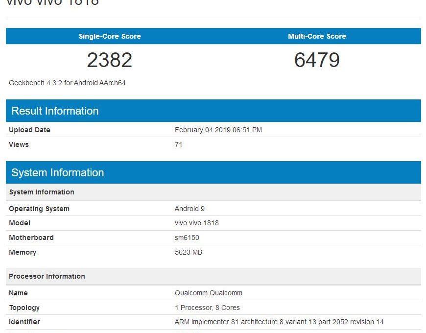 Результаты тестирования смартфона Vivo V15 Pro в Geekbench