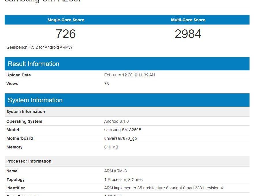 Результат тестирования Samsung SM-A260F в Geekbench