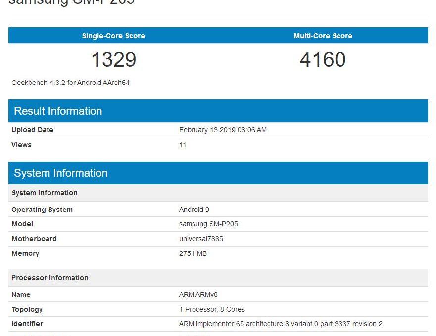 Результаты тестирования Samsung Galaxy Tab A в Geekbench