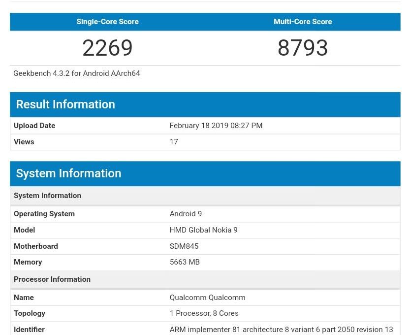 Результаты тестирования смартфона Nokia 9 PureView в Geekbench