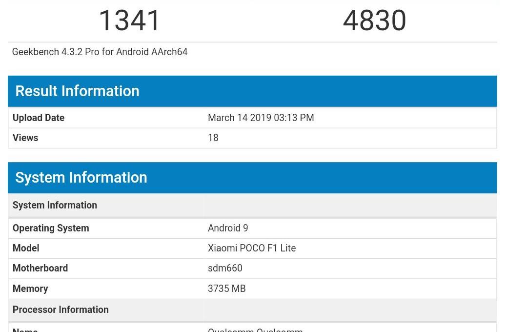 Результаты тестирования Xiaomi Pocophone F1 Lite в Geekbench