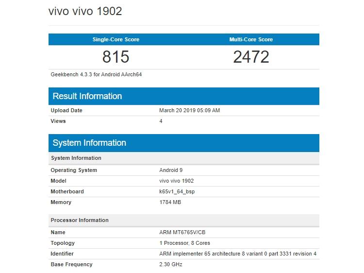 Результаты тестирования Vivo 1902 в Geekbench