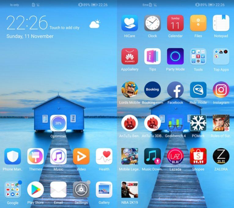 Интерфейс Huawei Y9