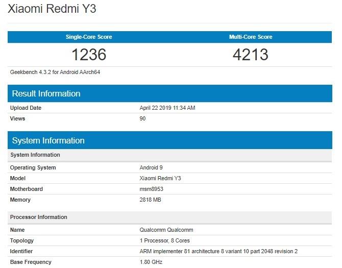 Результаты теста Redmi Y3