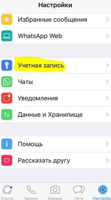 Меню WhatsApp на iOS
