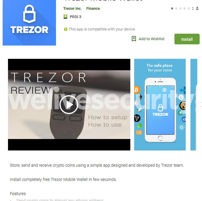 Фальшивое приложение Trezor