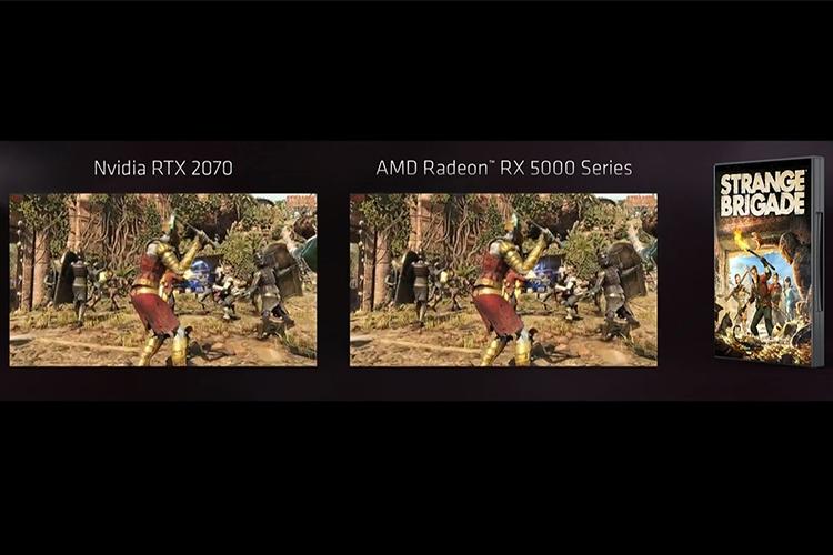 Графическая карта Radeon RX 5700 в сравнение с NVIDIA GeForce RTX 2070 в бенчмарке в игре Strange Brigade