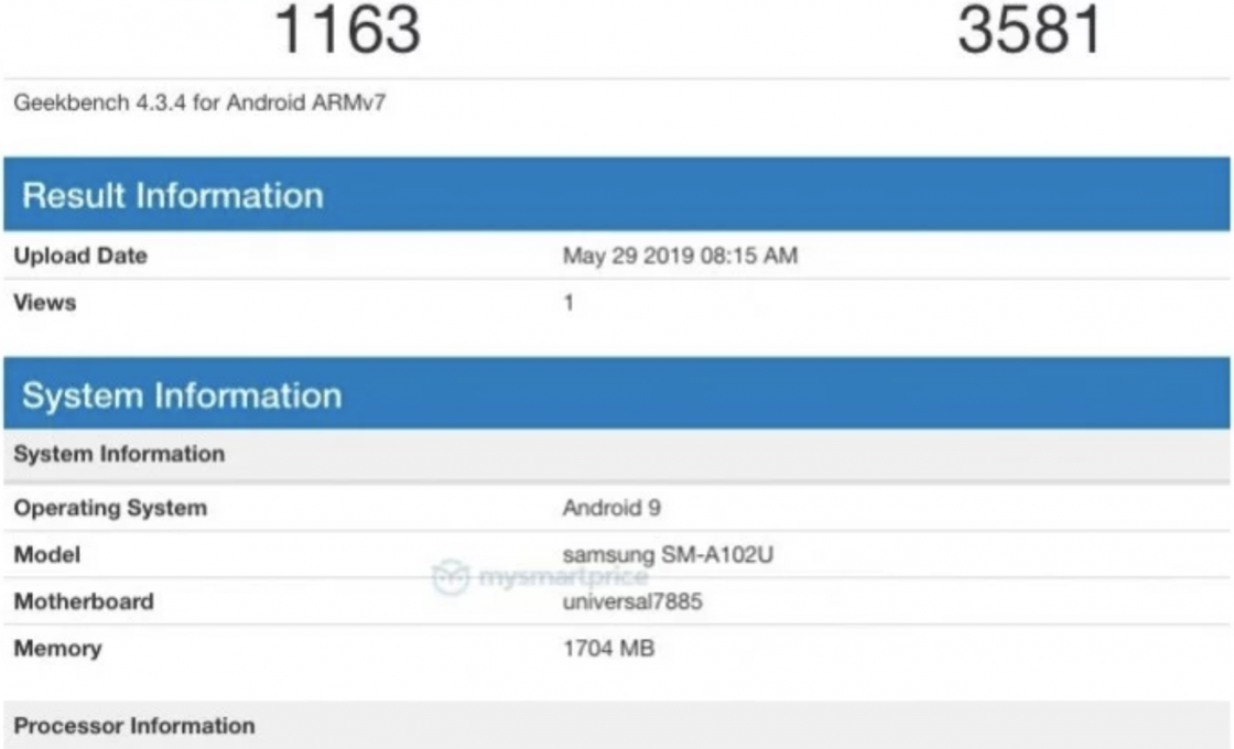 Samsung Galaxy A10e: результаты бенчмарка