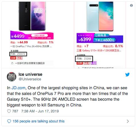 OnePlus 7 Pro и Samsung Galaxy S10+