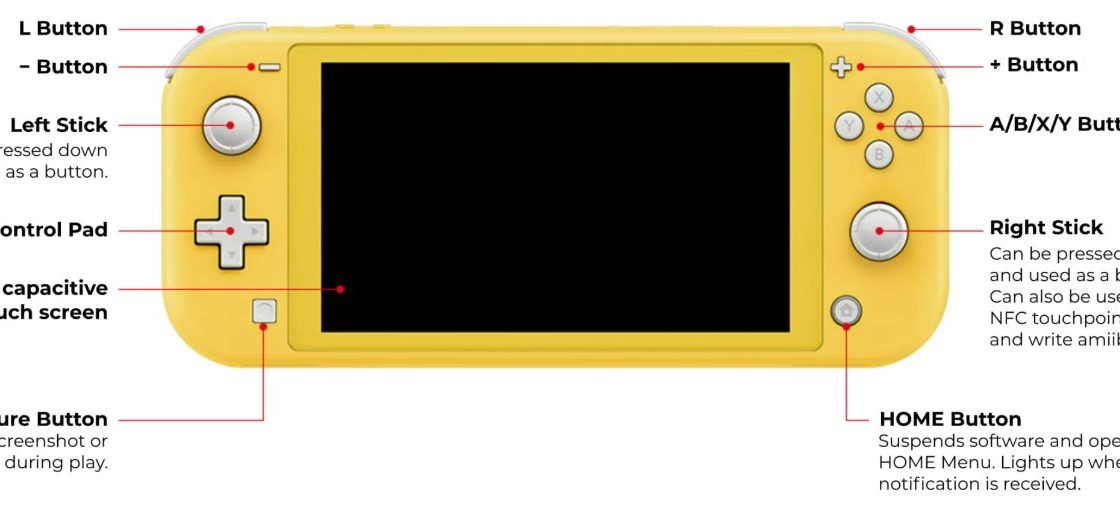 Управление Nintendo Switch Lite