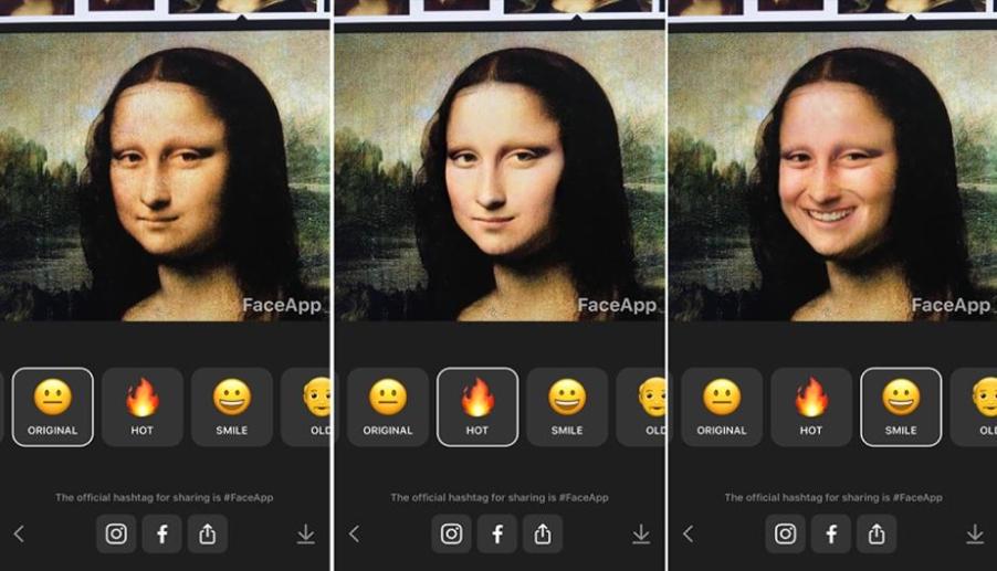Изменение изображения Моны Лизы в Face App