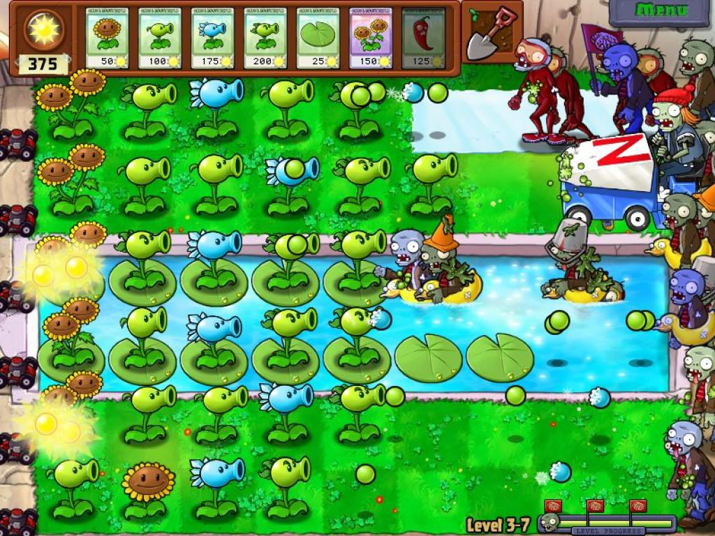 Геймплей в Plants vs. Zombies