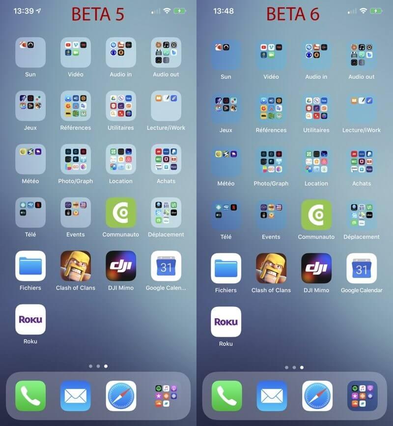 iOS 13 beta 6 прозрачность папок