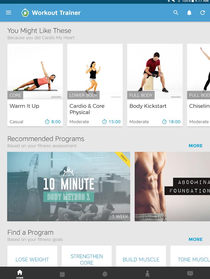 Список тренировок в приложении Workout Trainer