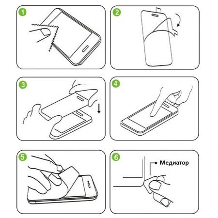 Схема приклеивания защитного стекла на смартфон
