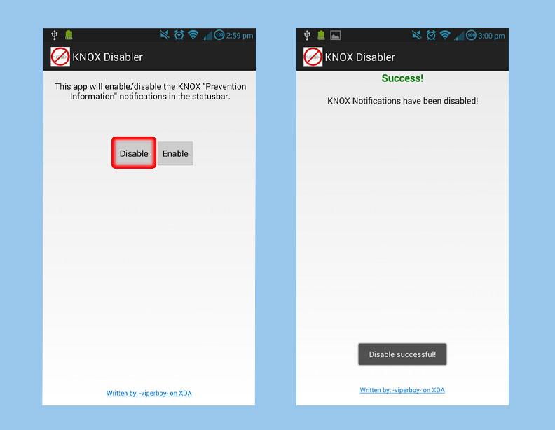 Рабочее окно программы KNOX Disabler для отключения приложения