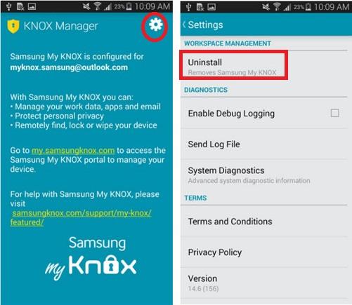 В разделе «Настройки KNOX» есть опция удаления приложения