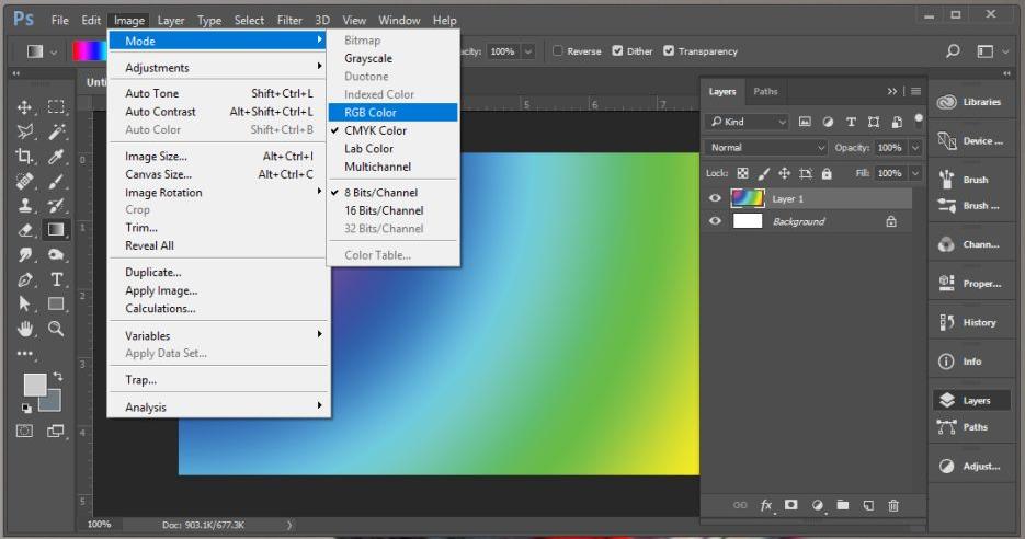 Смена цветового профиля в Adobe Photoshop